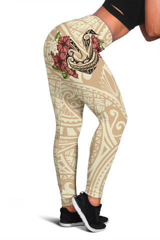 Hawaii Fish Hook Hibiscus Women's Leggings - Beige