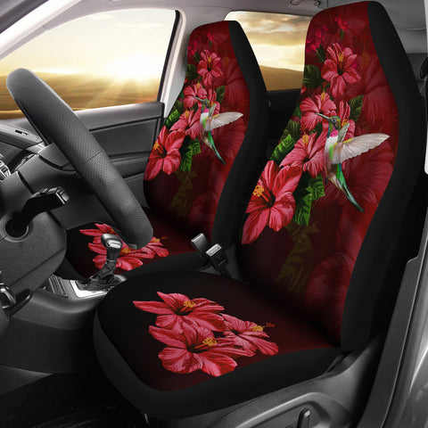 Image of Hawaii Red Hibiscus Humming Bird Car Seat Covers - AH - J5 - Alohawaii