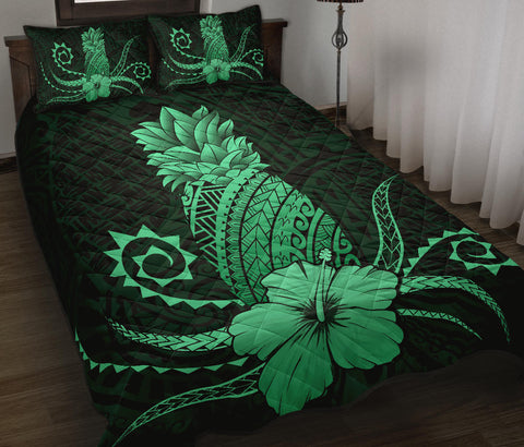 Hawaii Polynesian Pineapple Hibiscus Quilt Bed Set - Zela Style Green