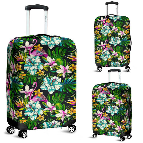 Image of Animals And Tropical Flowers Luggage Cover - AH - J1 - Alohawaii