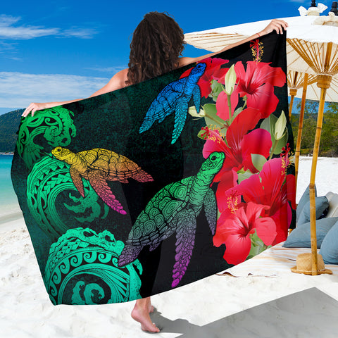 Hawaii Turtle Wave Hibiscus Sarong