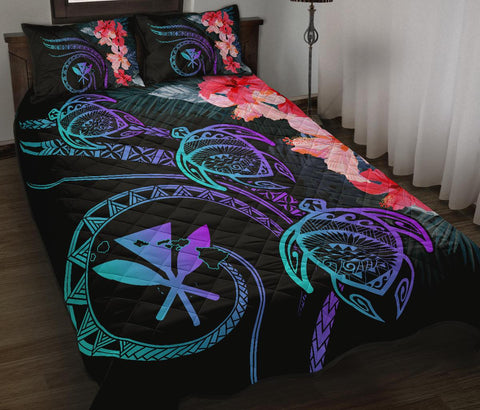 Hawaii Turtle Polynesian Tropical Quilt Bed Set - Cora Style Purple