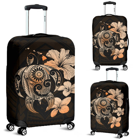 Hibiscus Plumeria Mix Polynesian Orange Turtle Luggage Covers
