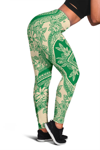 Polynesian Plumeria Mix Green Hawaii Women's Leggings AH J2