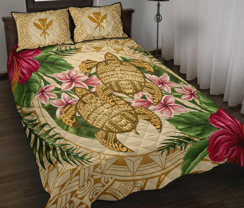 Alohawaii Quilt Bed Set - Turtle Strong Pattern Hibiscus Plumeria