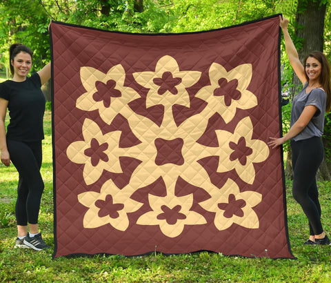Hawaiian Premium Quilt Royal Pattern - Coral - A1 Style