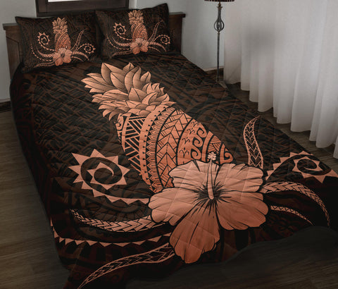 Hawaii Polynesian Pineapple Hibiscus Quilt Bed Set - Zela Style Orange