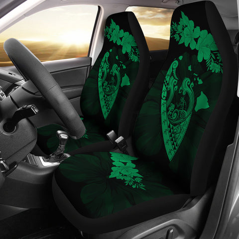Hawaii Hibiscus Banzai Surfing Car Seat Cover V2 Green - AH - J5 - Alohawaii