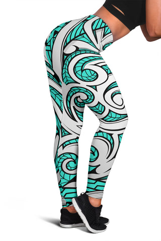 Polynesian Maori Ethnic Ornament Turquoise Hawaii Women's Leggings AH J2