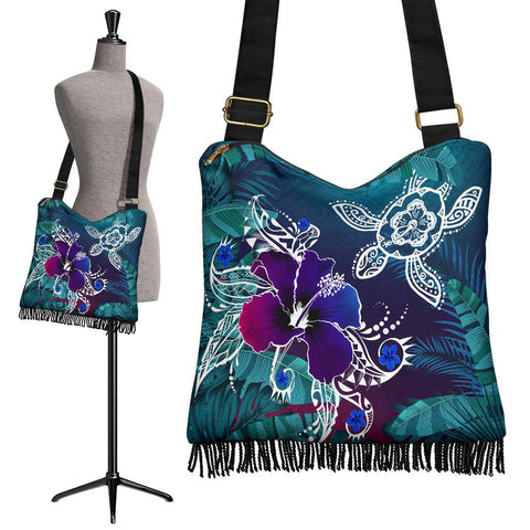 Alohawaii Crossbody Boho Handbag - Hawaii Turtle Flowers And Palms Retro - AH J8
