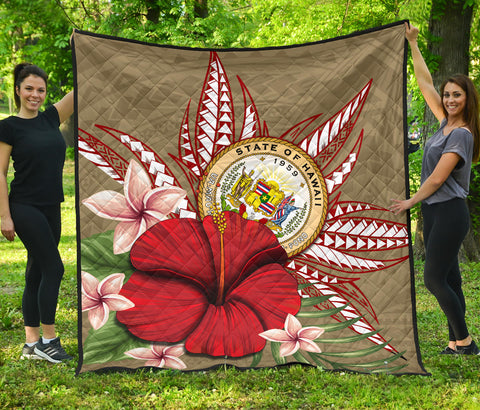 Hawaii Polynesian Coat Of Arm Tropical Premium Quilt