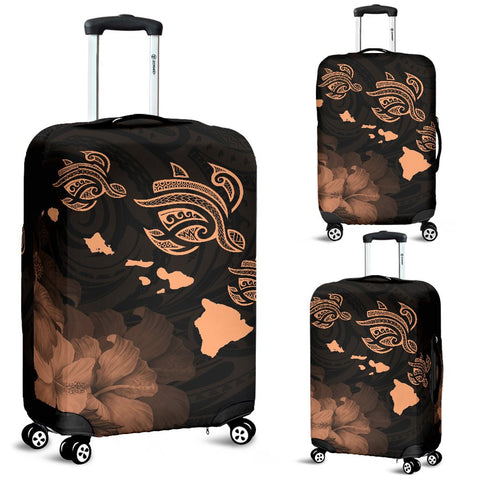 Hawaii Hibiscus Map Polynesian Ancient Orange Turtle Luggage Covers - AH - J1 - Alohawaii