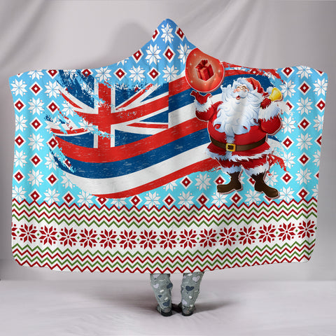 Image of Hawaii Flag Santa Claus Pattern Christmas Hooded Blanket - Noel Style - AH - J3