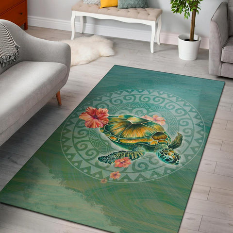 Hibiscus Turtle Swimming Area Rug AH J1 - Alohawaii