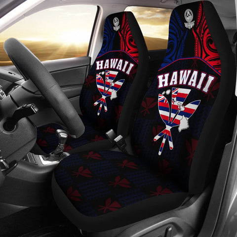 Hawaiian Kanaka Car Seat Covers Flag Nation Black Demodern
