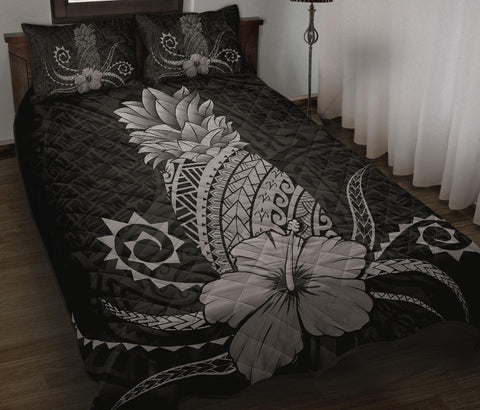 Hawaii Polynesian Pineapple Hibiscus Quilt Bed Set - Zela Style Gray
