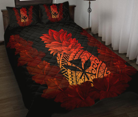 Image of Hawaii Pineapple Hibiscus Kanaka Quilt Bed Set - AH J4 - Alohawaii