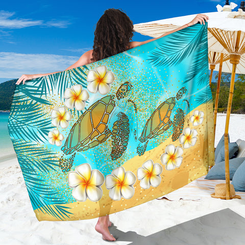 Hawaii Turtle Plumeria Summer Sarong - Sea Style - AH - JA