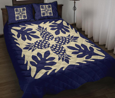 Image of Hawaiian Quilt Bed Set Pineapple Pattern - Blue
