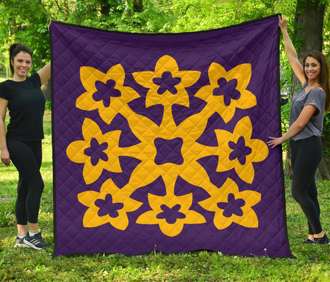 Hawaiian Premium Quilt Royal Pattern - Purple And Gold - A1 Style