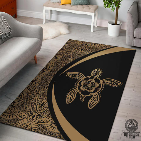Hawaii Turtle Polynesian Area Rug Circle Style Gold - AH - J7 - Alohawaii