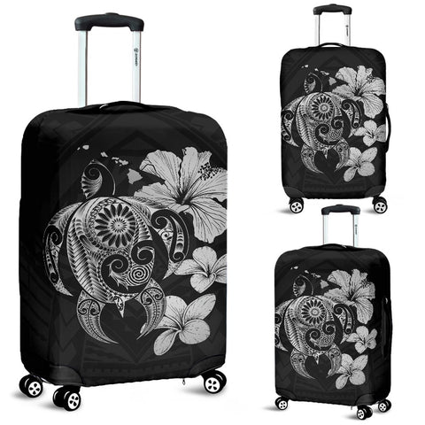 Hibiscus Plumeria Mix Polynesian Gray Turtle Luggage Covers