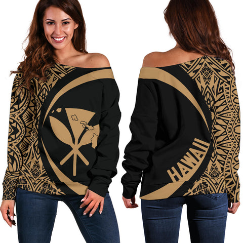 Kanaka Hawaii Map Gold Polynesian Off Shoulder Sweater