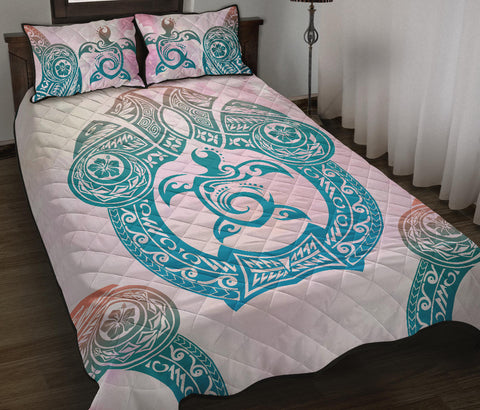 Image of Hawaii Quilt Bed Set Polynesian Turtle Hawaiian Quilt Bed Set - TT Style - AH - J6