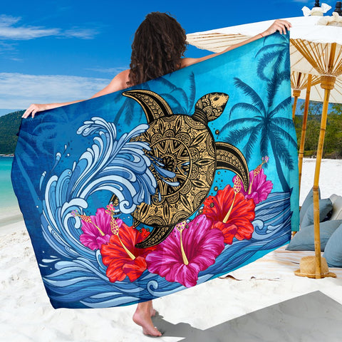 Hawaii Sea Turtle Hibiscus Coconut Tree Sarong - AH - J4 - Alohawaii