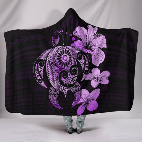 Image of Hibiscus Plumeria Mix Polynesian Violet Turtle Hooded Blanket - AH - J1 - Alohawaii