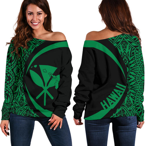 Kanaka Hawaii Map Green Polynesian Off Shoulder Sweater