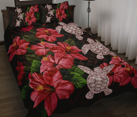 Image of Hawaii Red Hibiscus Turtle Quilt Bed Set - AH - Ray Style - J5 - Alohawaii