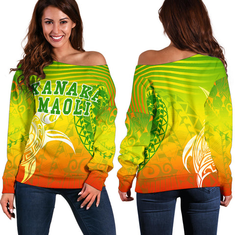 Kanaka Maoli Polynesian Women's Off Shoulder Sweater - Turtle Style - AH J9