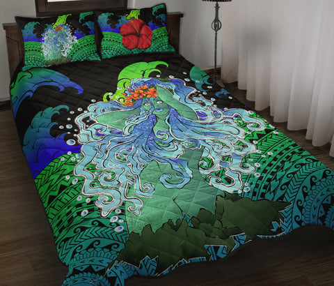 Polynesian Hibiscus Dancing Girl Quilt Bed Set
