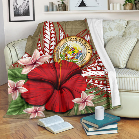 Hawaii Polynesian Coat Of Arm Tropical Premium Blanket