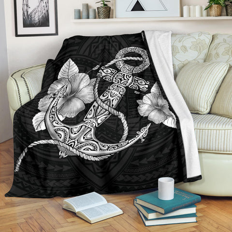 Image of Anchor White Poly Tribal Premium Blanket