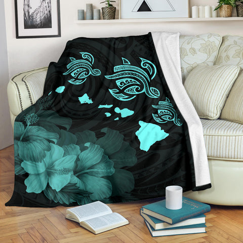 Hawaii Hibiscus Map Polynesian Ancient Turquoise Premium Blanket