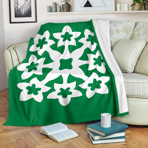 Image of Hawaiian Premium Blanket Royal Pattern - Green And White - A1 Style - AH - J2 - Alohawaii