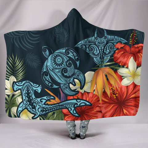 Hawaii Turtle Shark Manta Ray Hibiscus Plumeria Hooded Blanket