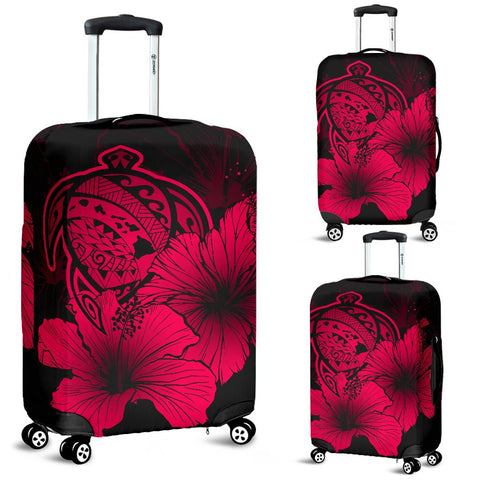 Hawaii Hibiscus Luggage Cover - Turtle Map