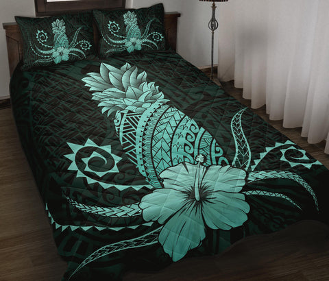 Hawaii Polynesian Pineapple Hibiscus Quilt Bed Set - Zela Style Turquoise