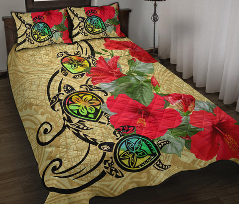 Hawaiian Marble Turtles Hibiscus Quilt Bed Set | Alohawaii.co