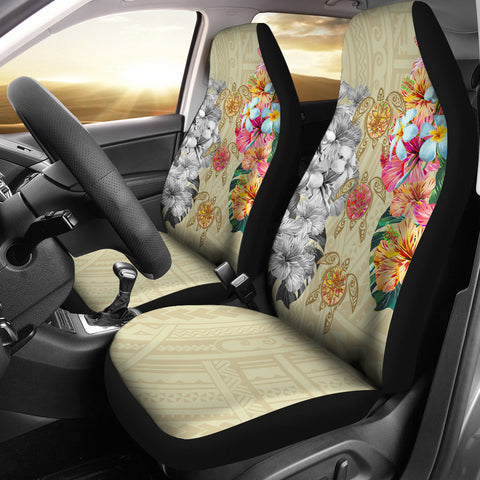 Hawaii Polynesian Flowers Swimming Turtles Car Seat Covers