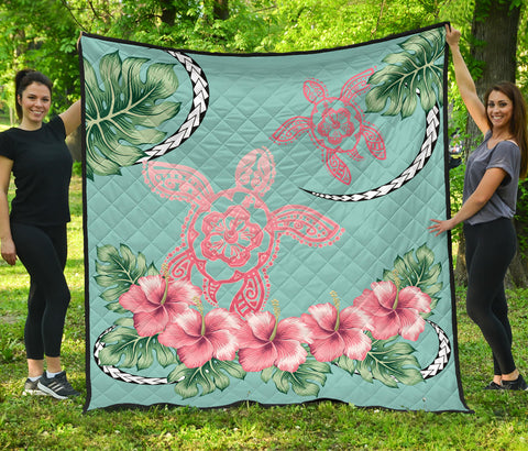 Hawaii Tropical Hibiscus Turtle Mint Style - Premium Quilt  AH J2