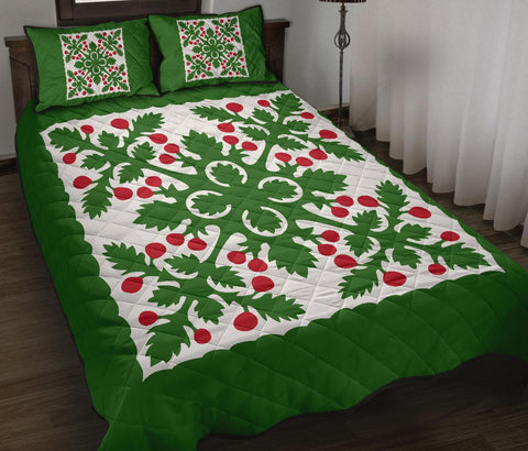 Image of Hawaiian Quilt Bed Set Fresh Fruit Tropical Pattern - Green - AH - J2