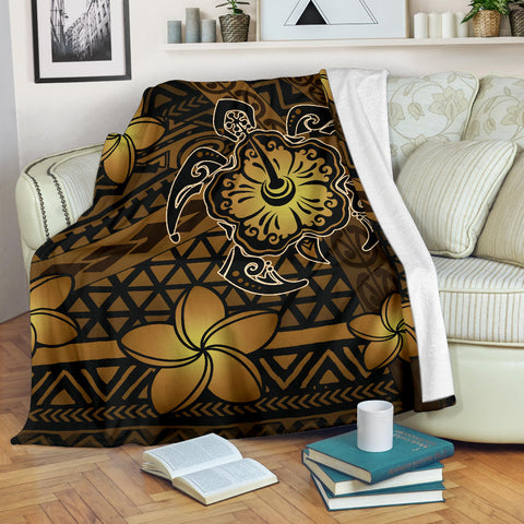 Hawaii Mix Polynesian Turtle Plumeria Premium Blanket
