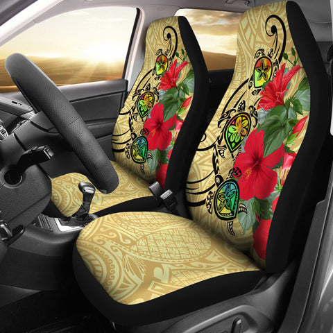 Hawaiian Marble Turtles Hibiscus Car Seat Covers
