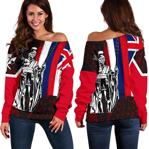 Hawaii Flag Flag Polynesian Women's Off Shoulder Sweater