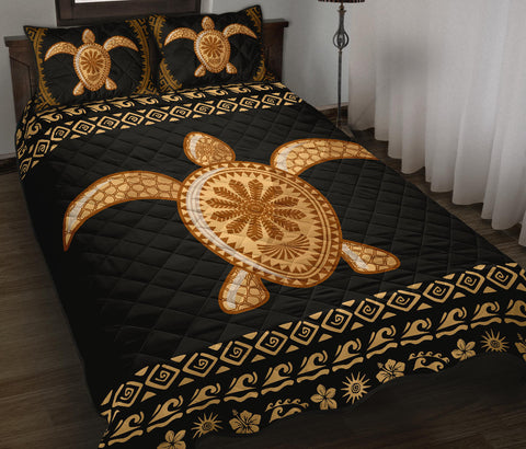 Image of Golden Turtle Quilt Bed Set