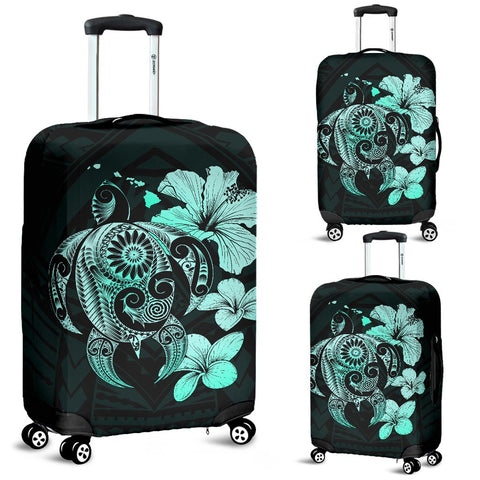 Hibiscus Plumeria Mix Polynesian Turquoise Turtle Luggage Covers
